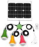 6W 11V Panel Solar Portable Inicio Solar Sistema de iluminación con luces de 1 cargador de teléfono móvil