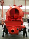 Mélangeur concret mobile de remorque avec la pompe avec la ligne en acier de pipe de la distribution de 100m en vente