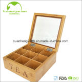 아크릴 덮개를 가진 대나무 상자 티백 저장 상자