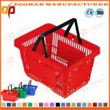 Standardsupermarkt-doppelter Plastikgriff tragen Einkaufskorb (Zhb61)