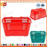 多彩で新しいプラスチックスーパーマーケットのショッピングハンドルのバスケット(Zhb57)