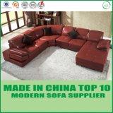 Sofa de cuir de salle de séjour de forme d'U