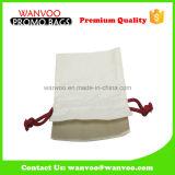 Do branco de algodão da tela saco 100% de Drawstring novo com corda vermelha