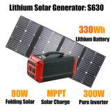 Blocco alimentatore portatile con il comitato solare pieghevole AC/DC/USB & 80W