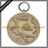 3D Antieke Brons van de Medaille van de Legering van het Zink/de Zilveren Medaille van het Ras met Sleutelkoord (byh-10863)