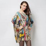 A camisola feita malha impressão do vestido da menina, forma a venda por atacado longa do pulôver das luvas