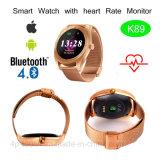 Relógio esperto de Bluetooth com tela e o monitor redondos da frequência cardíaca (K89)