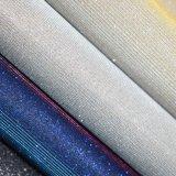 Cuir de chaussure d'unité centrale de scintillement de texture de tissu de Faux