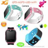 Montre de traqueur du WiFi GPS des gosses 3G avec l'appareil-photo Y20 de 3.0m