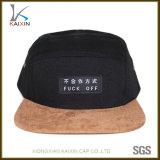 Chapéu feito sob encomenda do campista do painel do preto 5 da borda da camurça com cinta de couro