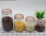 Jarro moderno de armazenamento de alimentos de vidro com tampa de vidro