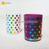 tazza di vetro 12oz con stampa colorata della stagnola