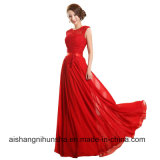 Chiffon- Perlen-Stickerei-Sleeveless Frauen elegantes langes A - Zeile Brautjunfer-Kleider