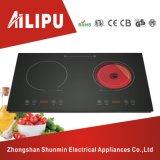 ABS Kooktoestel van de Inductie van de Brandwonden van de Desktop van de Huisvesting het Dubbele met Infrarood Kooktoestel 4kw