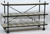 3 de Antieke Uitstekende Houten Decoratie van de rij/de Vertoning van de Plank van het Metaal