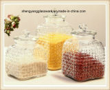 3PC de verschillende Kruik van de Opslag van het Voedsel van het Glas van de Stijl met het Deksel van het Glas