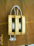 私達手錠が付いているタイプ木の二重Sheaveプーリーブロック