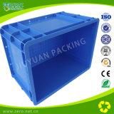 Cor azul que envia a caixa plástica para o recipiente da UE