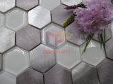 Mosaïque en verre blanche superbe de mélange en aluminium (CFM1028)