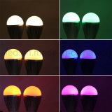 Bulbo LED de 2,4 G RF 9W RGBW com controle remoto a toque de 4 zonas
