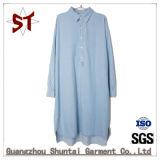 Form-Dame-beiläufiges langes Hemd-Denim-Kleid mit Baumwolle