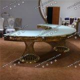 Роскошный закрывается Gold живописи и обеденный стол из нержавеющей стали Yc-St29