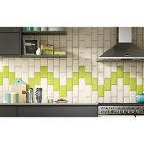 De geelachtige Groene 3X6inch/7.5X15cm Glanzende Decoratie van de Tegel van de Metro van de Muur van de Schuine rand Ceramische