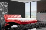Модульный волнистых форму из натуральной кожи с одной спальней мягкая кровать для хранения