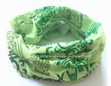 中国の工場OEMの農産物カスタムプリント緑ポリエステルは首のウォーマーのヘッドスカーフを遊ばす