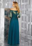 Длинние втулки отбортовали мантию вечера шифоновых повелительниц платья мати зеленую