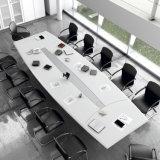 熱い営業会議部屋の机のホテルのための引出しが付いている円形の白いアクリルの石造りの会合表