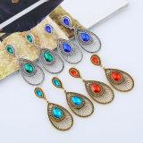 Gota elegante del agua de la perla de la manera que gotea el pendiente oval del pavo real para la alineada de boda