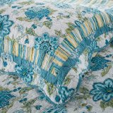 Настраиваемые Prewashed прочного удобные кровати стеганая 3-х покрывалами Coverlet Набор с синим отпечатков