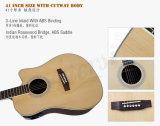 Guitarra acústica eléctrica superior sólida de Cutway Dreadnaught de 41 tallas (SG02SRCE-41)