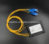 Connettore ottico di Scpc del divisore del PLC della scatola di plastica del connettore 1X4 di Gpon del cavo della fibra