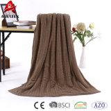 極度の柔らかく明白なケーブルのニットの投球のアクリルのSherpa毛布