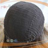 Peluca judía superior de seda de arraigo oscura del pelo humano (PPG-l-01381)