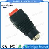 赤いねじ込み端子(PC101RD)が付いているCCTVのDC電源のコネクター