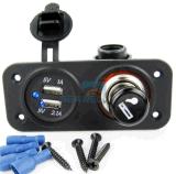 el socket del alumbrador del cigarrillo del enchufe de potencia 12V + 2.1A se doblan el adaptador del cargador del USB + el LED portuarios