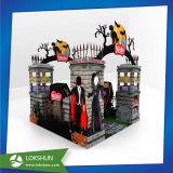 Zurückführbare Fußboden-Pappbildschirmanzeige, gewölbtes Papier-Bildschirmanzeige-Zahnstangen-Standplatz