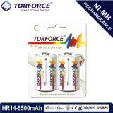 batería inferior recargable de China Fatory del hidruro del metal del níquel de la autodescarga 1.2V (HR20-D size-2500mAh)
