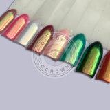 El polaco de clavo de Colorshift del espejo del cromo del arco iris del camaleón de la aurora pigmenta el polvo