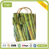 Grüner Bambus gekopierte Kunst-überzogene Geschenk-Papiertüten