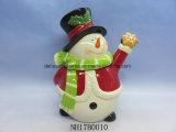 Vaso di biscotto di ceramica dei pupazzi di neve divertenti per la decorazione di natale