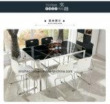 A tabela de jantar preta ajustou-se para a HOME com vendas da fábrica de Shengfang