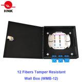 Caixa resistente da montagem da parede da fibra óptica da calcadeira de 12 fibras