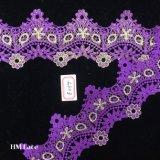 testo fisso nuziale viola del merletto di 8cm Alençon, testo fisso smerlato del merletto del ricamo di Flroal in avorio Hme859
