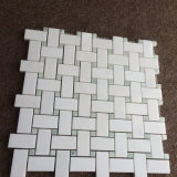 Плитка мрамора стены конструкции камня мозаики Basketweave кристаллический