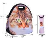 Il pranzo del reticolo del fronte di Emoji del gatto insacca la borsa impermeabile di picnic del neoprene con il Tote degli spuntini delle donne dei bambini della casella degli articoli per la tavola