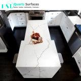 Comptoirs de cuisine de quartz blanc préfabriqués aux veines